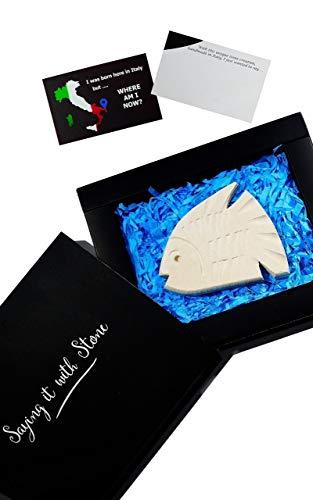 Poisson fait à la main en Italie - Symbole de determination - Coffret cadeau et carte de message inclus - Idée cadeau femme homme anniversaire naissance collègue