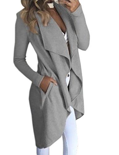 HAHAEMMA Damen Maxi Offene Cardigan Strickjacke Asymmetrisch Strickmantel Mantel mit Tasche Fleece Mantel Winter Frühling Reverskragen Lang Umstandsbekleidung Jacke(GY,M) - Asymmetrische Tasche