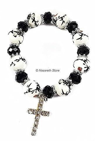 Catholic Black White Flowers Beads Rosary Bracelet Glass Beaded Bangle Unisex