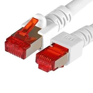 BIGtec 2m CAT.6 Ethernet LAN Patchkabel Gigabit Netzwerkkabel Patch Kabel weiß folien und geflechtgeschirmt halogenfrei PIMF (RJ45, Cat 6, SFTP doppelt geschirmt , Screened Foiled Twisted Pair, 1000 Mbit/s) 2 x RJ45 Stecker ideal für Switch , DSL Verbindungen , Patchfelder , Patchpanel , Router , Modem , Access Point und andere Geräte mit RJ45 Anschluß ,CAT Kabel KAT Kabel CAT6 CAT 6 , geschirmtes Patchkabel SF/UTP