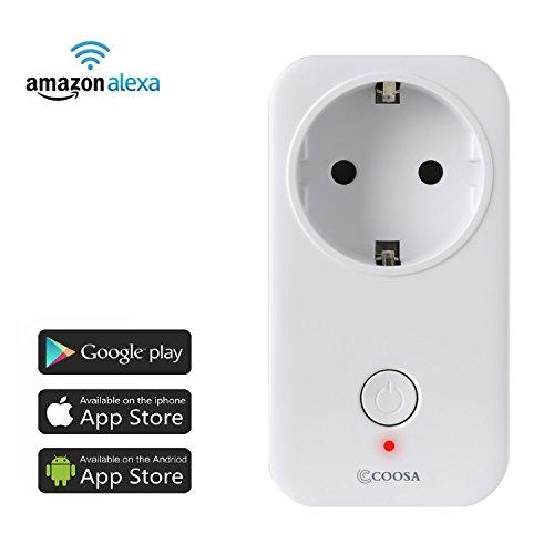 Smart Steckdose COOSA intelligente WLAN Steckdose smart Wifi Steckdose WLAN Smart Steckdose funktioniert auch mit Amazon Alexa [Echo, Echo Dot], mit App Steuerung überall und zu jeder Zeit