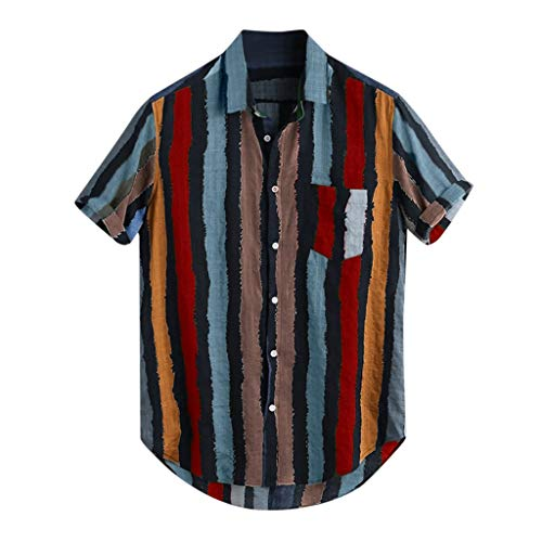 BHYDRY Mens Lose Multi Color Stripe Lump Brusttasche Kurzarm Rundsaum Shirts - Falten Tweed-rock