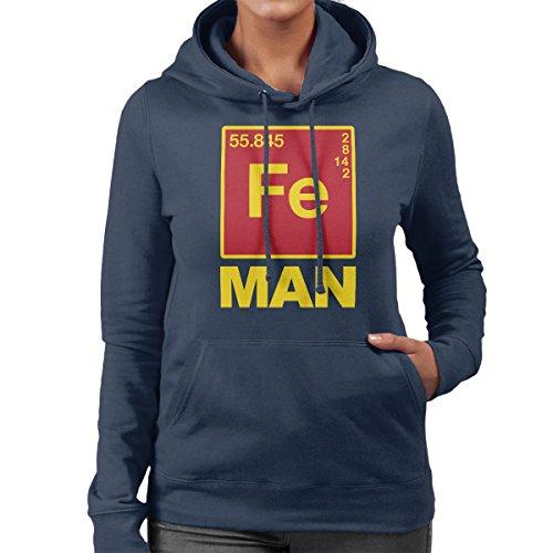 Iron Man Chemical Symbols Women's Hooded Sweatshirt Navy Blue