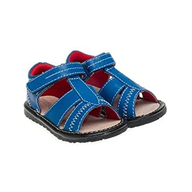Little Blue Lamb - Squeaky Leather Toddler boys Shoes | Blue sandals - Size: 23