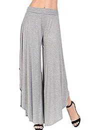 fd43d68565 Falda Pantalon Mujer Elegantes Pantalones Verano Cintura Alta Color Sólido  Culotte Pantalones Palazzo Pantalon Anchos Anchos