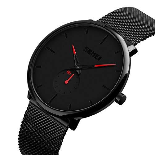 iCerber wasserdichte minimalistische ultradünne analoge Herren-Armbanduhr aus Edelstahl Quarzwerk