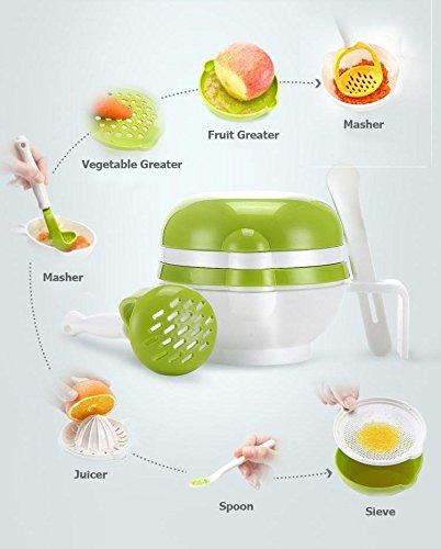 Skudgear 7-in-1 Baby Food Masher + Baby Food Serve Bowl + Baby Food Sieve + Juice Maker + Food Grater + Baby Sensitive Spoon + Lid