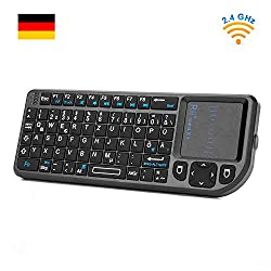 Rii X1 Mini Tastatur Wireless, Mini Tastatur Kabellos mit Touchpad, Mini Wireless Keyboard mit Multimedia Tasten für Smart TV Fernbedienung/PC/ PAD/ XBox 360/ PS3/Google Android TV Box/HTPC/ IPTV ( De Layout )
