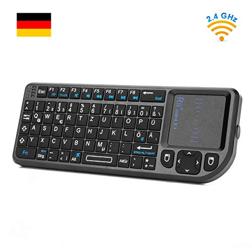Rii X1 2.4GHz Mini Tastatur Wireless mit Touchpad-Maus und Multimedia Tasten, Mini Wireless Keyboard, 2.4Ghz USB wiederaufladbare Handheld USB Schnittstelle für PC/ PAD/ XBox 360/ PS3/Google Android TV Box/HTPC/ IPTV ( De Layout )