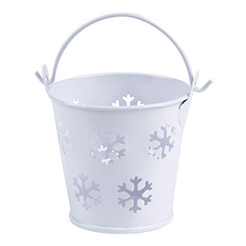 Neviti Lot de 5 Petits seaux décoratifs Blancs à Flocons de Neige