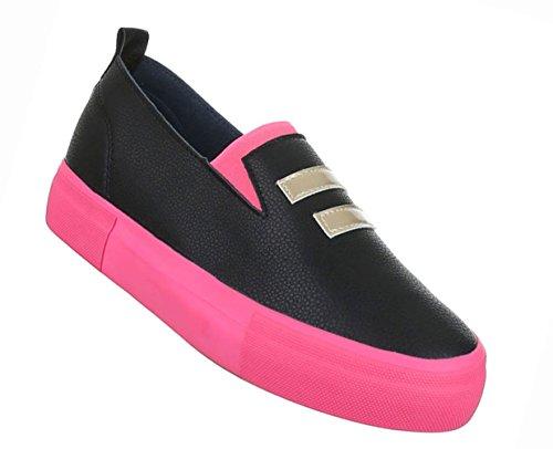 Damen Schuhe Halbschuhe Slipper Freizeitschuhe Schwarz Pink Schwarz