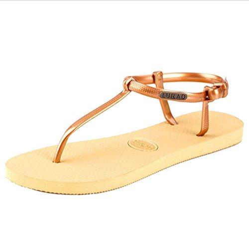 Baymate Femmes Simple Sandales Bout Ouvert Tongs Plat Chaussures De Plage gold