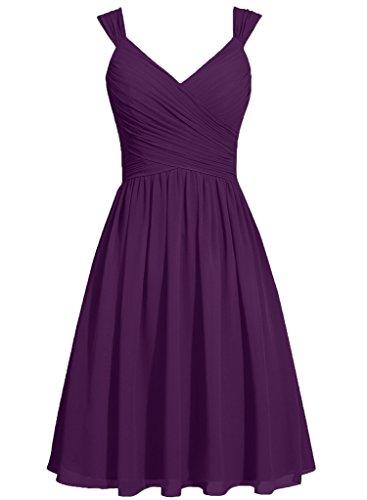 HUINI Frauen Straps V-Ausschnitt Kurze Chiffon Brautjungfer Kleider Prom Party Kleider mit Bowknot Sch?rpen Traube
