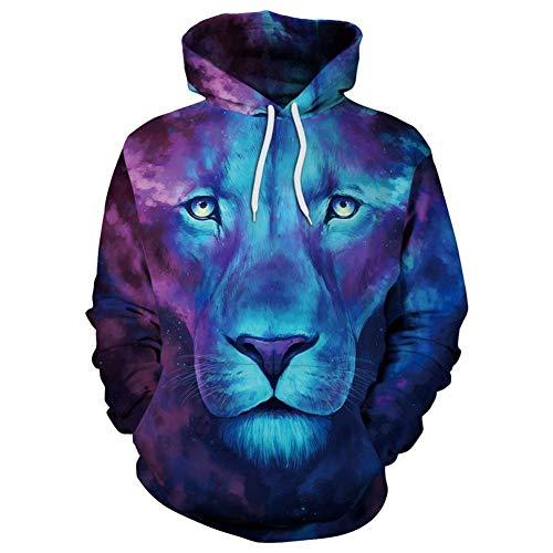TUWEN Sweatshirt Star Wolf Digital Print Hooded