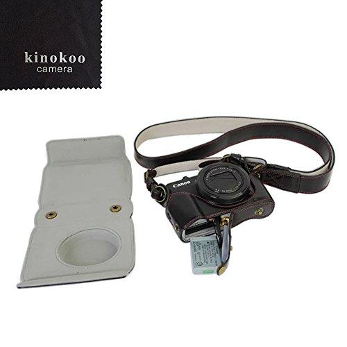 kinokoo PU Funda de Cuero de la Cámara para Canon G7X II con Gran Correa de la Caja(Negro)