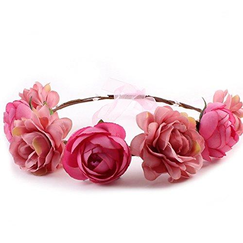 Yuccer Blumen Stirnband Mädchen, Böhmen Blumen Haarband für Damen Haarkranz Blumen für Hochzeit Festival Strand (Rosa)