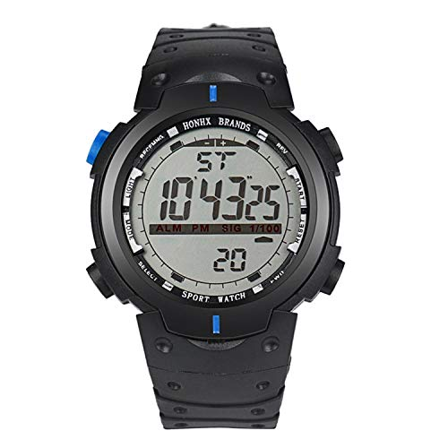 Männer LED Digital Date Military Sport Rubber Quartz Watch Alarm Waterproof Uhr Armbanduhr(Blau) ()