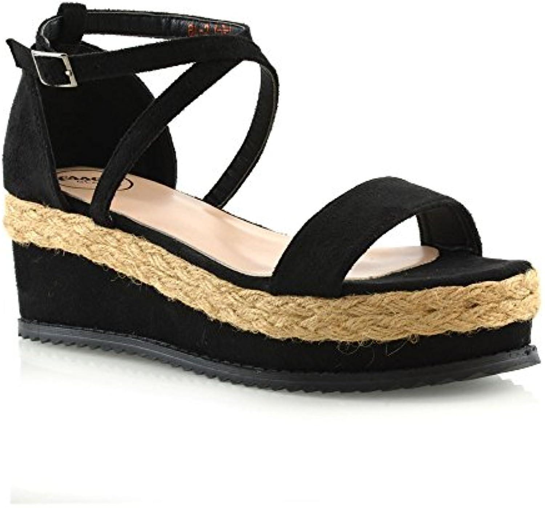 6e1dff20f53 ESSEX GLAM Ankle Womens Sandals Flat Womens Wedge Espadrille Ankle Strap Ladies  Platform Summer Sandals Shoes 3-8 B07DL4S4W5 Parent 10749b3