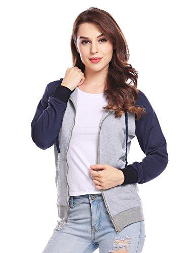 Damen Sweatjacke Hooded Kapuzensweatshirt Sportlichen Retro Style mit Farb-Kontrasten Zip-Hoodie Dunkelblau