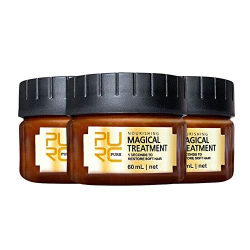 PURC Maschera per trattamento dei capelli alla cheratina magica 5 secondi Riparazione della radice dei capelli 60 ML Trattamento nutriente per capelli morbidi Tonico alla cheratina per capelli (3pcs)