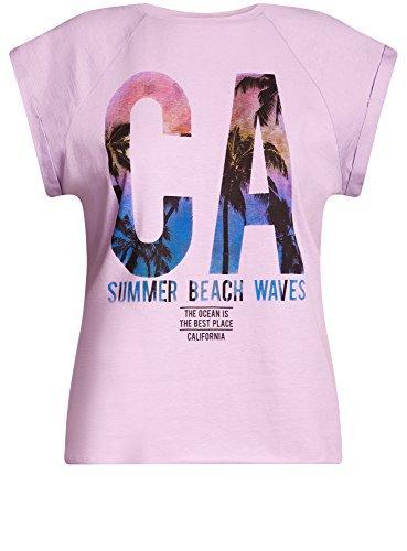 oodji Ultra Damen Baumwoll-T-Shirt mit Druck Violett (8019P)
