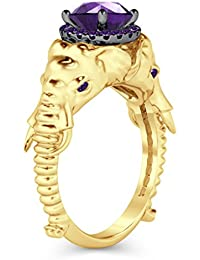 Silvernshine Halo Round Cut Sim Amethyst CZ Diamond 14K Yellow Gold Plated Elephant Fashion Ring