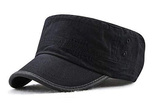 Militär-trucker Hat-cap (CHENNUO Armee Militär Flacher Cap Herren Schirmmütze Verstellbar Sport Baseball Kappe (Schwarz))