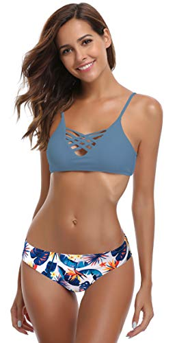 SHEKINI Damen Crossover Netz Gepolstert Bikini Set Zweiteilige Strandkleidung Bandeau Strandmode Blumen Druck Bikinihose (XS, Fairy Blau)