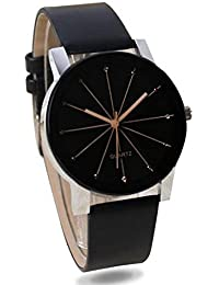 First Look 2018 New Collection Crystal Black Round Shapped Dial Leather Strap Fashion Wrist Watch For Man.