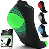 Physix Gear Sport Compression Running Socks for Men & Women - Best Athletic Low Cut Socks with No Show Ankle Design - Premium Quality Stitching - Boost Stamina Circulation & Recovery (Grn Blk L/XL)