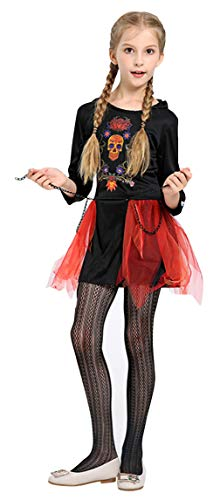 Cloud Kids Mädchen Halloween Party Kleider mit Kapuze Karneval Skelett Cosplay Verkleidung Rot Körpergröße 130-140cm