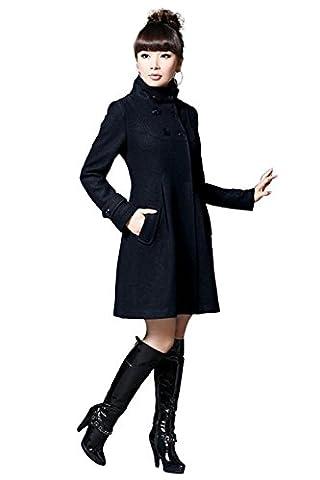 Babyonlinedress Femme Veste Manteau/Parka Automne/Hiver mi-Longue à Capuche avec Manches Longues Boutons Grande Taille en Coton Noir