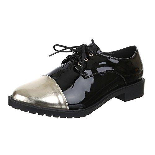 Damen Schuhe, EL15580-2, HALBSCHUHE SCHNÜRER Schwarz
