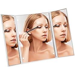 Meer Plegable y portátil LED espejo, Portable lindo espejo de maquillaje iluminado de 8 LED ' s, regulable, batería del botón fuente, blanco elegante para las mujeres las niñas