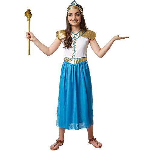 dressforfun 900554 Kleine Prinzessin Amneris, Ägyptisches Kostüm in weißen, blauen und goldenen Farben (140| Nr. 302671)