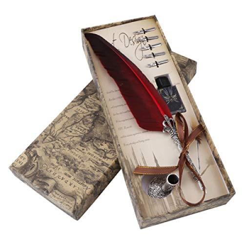 1SET English calligrafia Feather DIP Pen writing Ink set cancelleria confezione regalo con 5pennini wedding Gift Quill penna stilografica nuovo Red