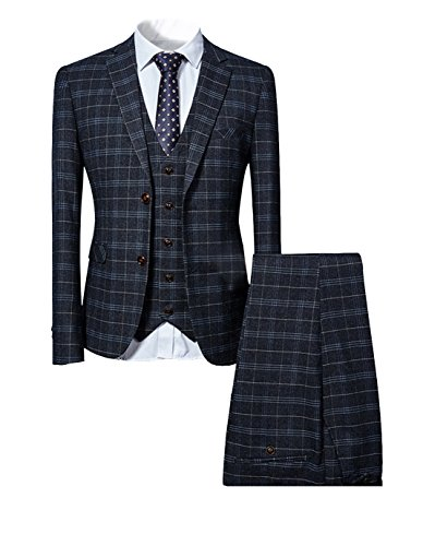 Mens 3 Piece Slim Fit Checked Suit Blue/Black Single Breasted Vintage Suit