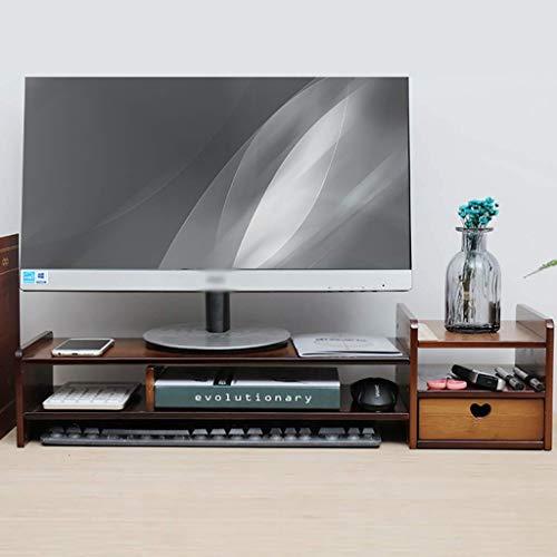 Mnjin Universal Laptop Notebook Monitor Ständer Rack, Holz Einfache Moderne Tastatur Lagerregal Schreibtisch Lagerregal Mit Schublade 69 * 23 * 17 cm (größe: 1 schublade) -