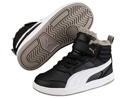 Puma Unisex-Kinder Rebound Street V2 FUR V PS Hohe Sneaker, Schwarz Black White-Elephant Skin 04, 35 EU