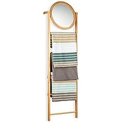 Relaxdays Toallero Escalera con Espejo y 4 Barras, Bambú, Beige, 160 x 45 x 15 cm