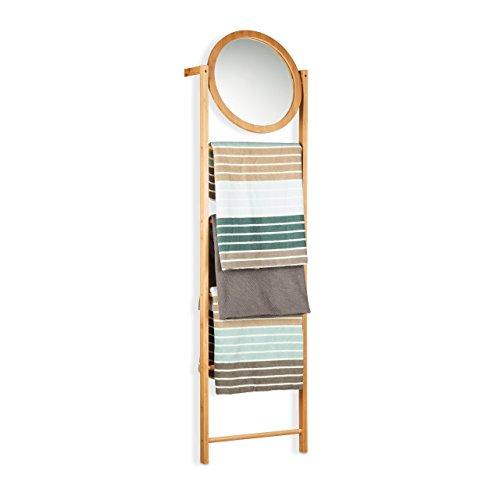Relaxdays 10021552 portasciugamani da terra per il bagno in bambù, 4 aste, specchio, a forma di scala, marrone chiaro