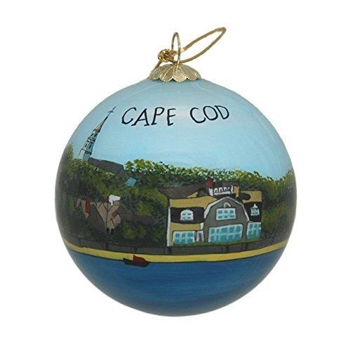 Wasser Shoreline und Häuser Glas Ornament-Cape Cod -