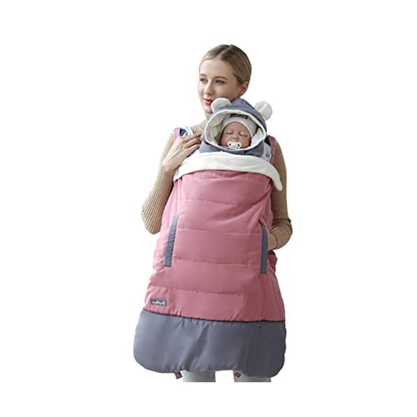 Baby Carrier Cover - Hooded Windproof Waterproof Winter Cloak Pocket Front, Pink WYTbaby Universal - Fits most of the baby carrier. No worry for size issue.Size: 78*64cm Practical - As a baby carrier cover, it also can be used as a blanket cover in pushchairs; buggy; pram ect. Windproof - Cover for baby carrier; Hooded design; Protect baby against wind. Make baby feel cozy and warm in winter or cold day. 1
