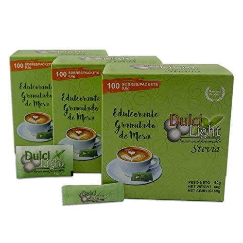 DULCILIGHT STEVIA Total 300 Sobres, EDULCORANTE Granulado Gourmet EL MEJOR SABOR del Stevia , Pack de 3 Estuches x 100 C/U.