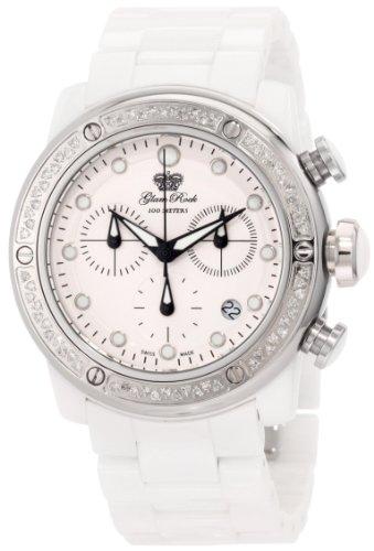 Glam Rock Women's GR50116D Aqua Rock Chronograph Diamond Accented White Dial Ceramic Watch