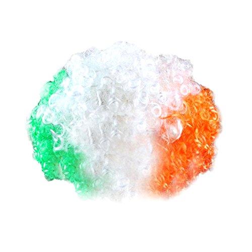 Party Disco Afro Clownhaar Fußball Erwachsenes Kind Kostüm Lockige Perücke 13 Länder - Irland, 110 cm * 120 cm / 43.3inch * 47.24inch