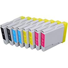 Pack 8 Brother LC-1000 , LC-970 Cartouches Compatibles. 2 noir, 2 cyan, 2 magenta, 2 jaune compatible avec Brother DCP-110C, DCP-115C, DCP-117C, DCP-120C, DCP-130C, DCP-135C, DCP-150C, DCP-153C, DCP-310CN, DCP-315CN, DCP-330C, DCP-340CW, DCP-350C, DCP-353C, DCP-357C, DCP-540CN, DCP-560CN, DCP-750CW, DCP-770CW, FAX-1355, FAX-1360, FAX-1460, FAX-1560, FAX-1835C, FAX-1840C, FAX-1940CN, FAX-2440C, HL-1230, HL-1430, HL-1440, HL-1450, HL-1470N, HL-1650, HL-1670N, HL-1850, HL-1870N, HL-2460, HL-7050, HL-7050N, MFC-210C, MFC-215C, MFC-235C, MFC-240C, MFC-260C, MFC-3240C, MFC-3340CN, MFC-3360C, MFC-410CN, MFC-425CN, MFC-440CN, MFC-465CN, MFC-5440CN, MFC-5460CN, MFC-5840CN, MFC-5860CN, MFC-620CN, MFC-640CW, MFC-660CN, MFC-680CN, MFC-820CW, MFC-845CW, MFC-885CW, MFC-885CW.Cartouches Compatibles. JET D ENCRE imprimantes. LC-1000BK , LC-1000C , LC-1000M , LC-1000Y , LC-970BK , LC-970C , LC-970M , LC-970Y © Encre Choix