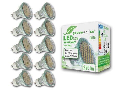 greenandco 10-er Pack GU10 LED Spot Strahler 3,2 W, 220 lm, 3000 K, 60 x 3528 SMD LED, 120 Grad, 230 V AC, mit Schutzglas, nicht dimmbar,warmweiß 10x LAC-GU10A-3528-60-WW