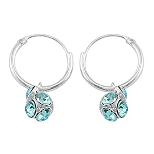 925 Silver Blue sterling-silver Bali Earring for Women
