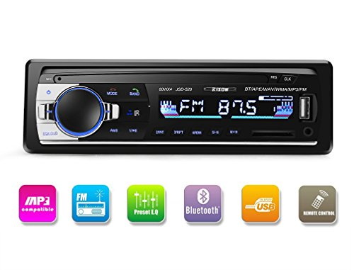 Autoradio,Rixow Autoradio mit Bluetooth Fernbedienung Freisprechanlage,FM In-Dash Radio,MP3-Player,USB Anschluss und SD Kartenslot,Aux-Eingang